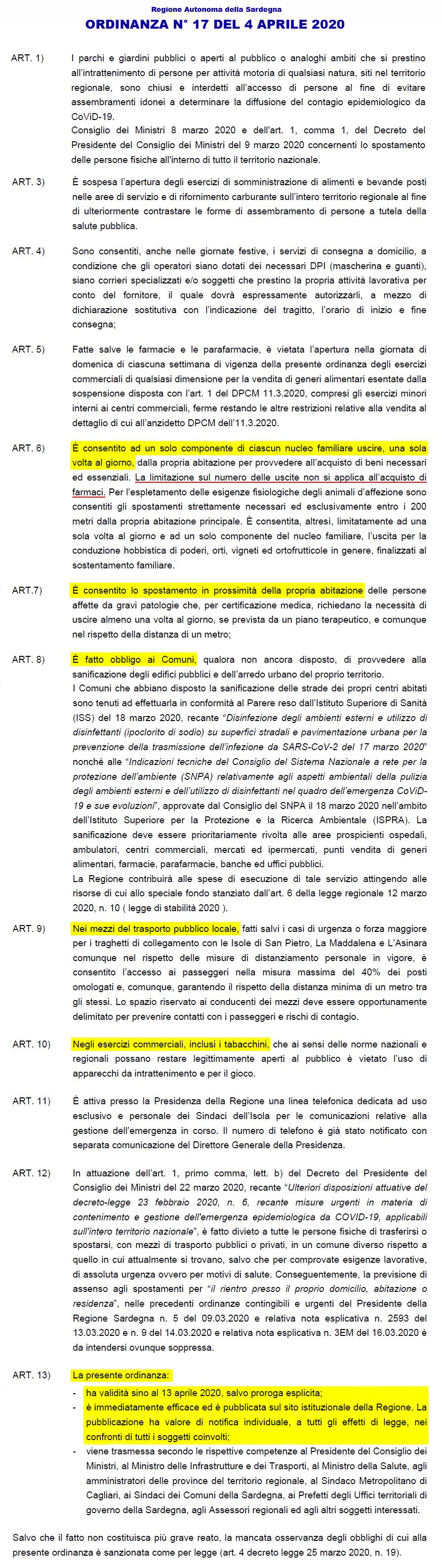 Regione Sardegna. Norme di Contrasto al Covid-19 sull ...